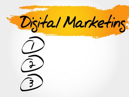 Digital Marketing blank list, business concept