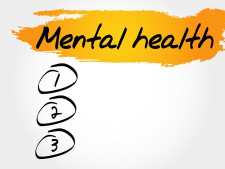 Mental health blank list, health concept