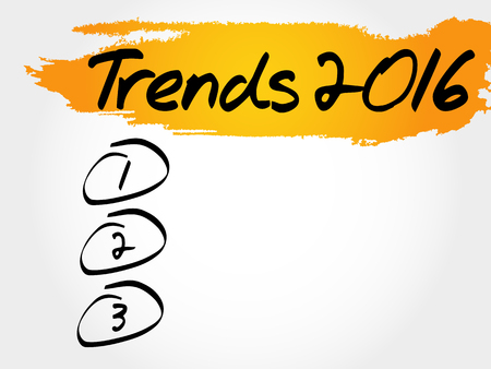 Trends 2016 blank list, business concept