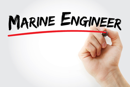 Hand writing marine engineer with marker, concept background