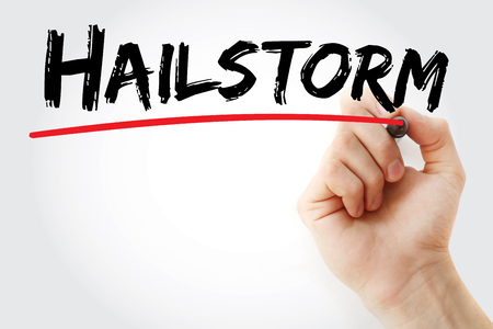Hand writing hailstorm with marker, concept background