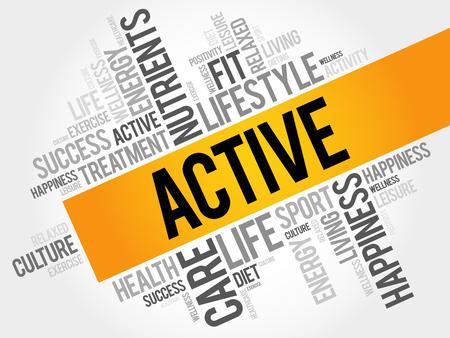 활성 단어 구름, 피트니스, 스포츠, 건강 개념