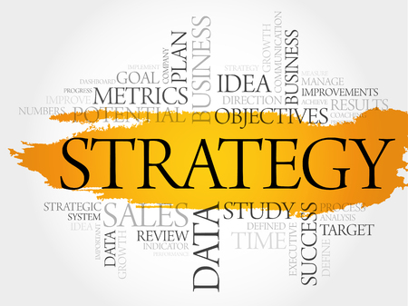 Strategy word cloud, business concept Vektorové ilustrace