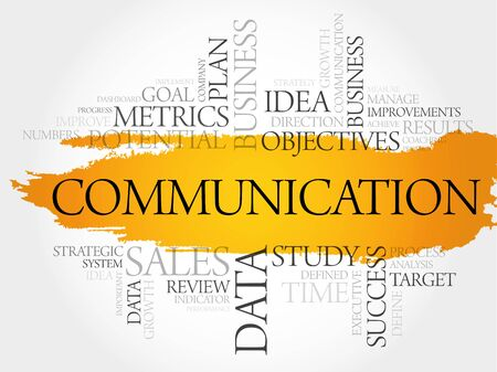 Communication word cloud, business concept background