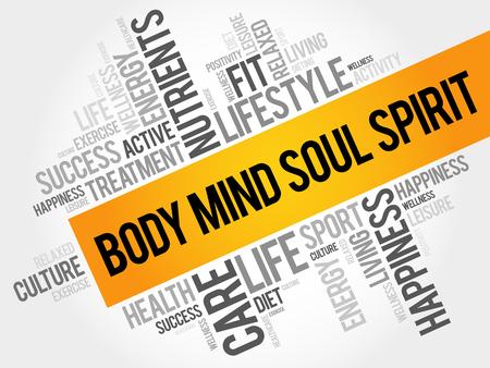 chakra energy: Body Mind Soul Spirit word cloud background, health concept