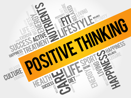 Positive thinking word cloud background, health concept Ilustrace