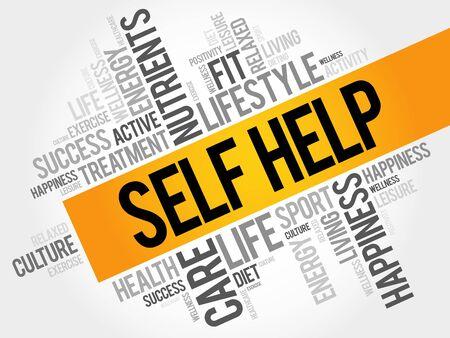 Self Help word cloud background, health concept Illustration