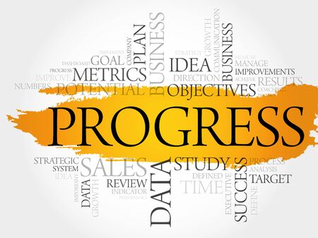common goal: Progress word cloud, business concept