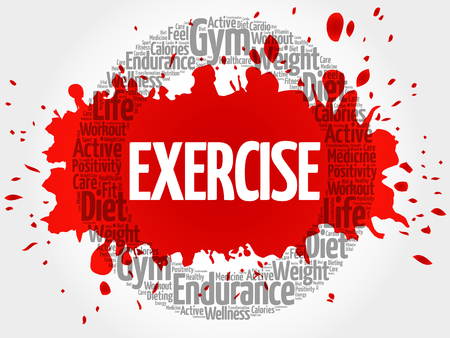 EXERCISE circle stamp word cloud, fitness, sport, health concept