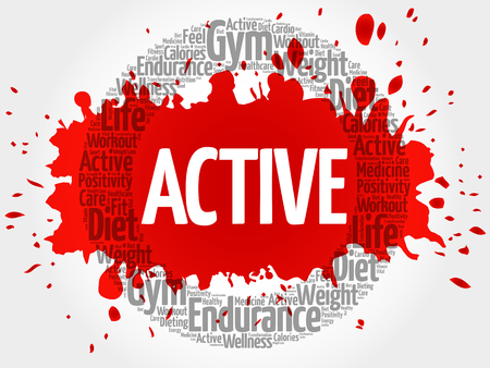 positive energy: ACTIVE circle stamp word cloud, fitness, sport, health concept