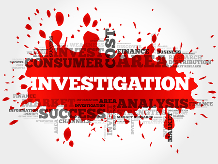 Investigation word cloud, business concept Illustration