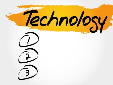 TECHNOLOGY blank list, business concept Illustration