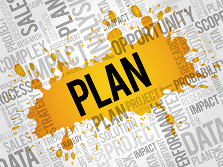 property management: PLAN word cloud, business concept