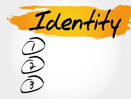 IDENTITY blank list, business concept Illustration