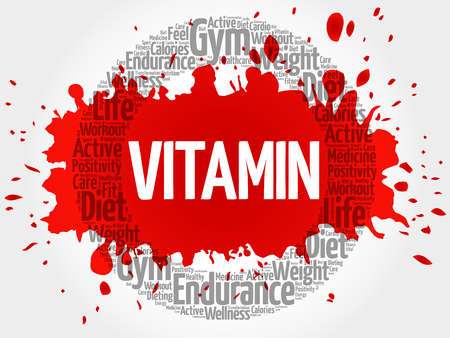 VITAMIN circle stamp word cloud, fitness, sport, health concept