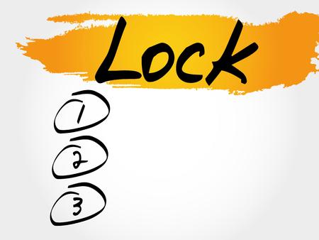 LOCK blank list, business concept Illustration