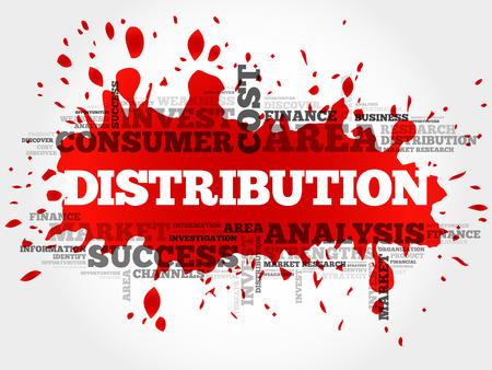 Distribución nube de la palabra, concepto de negocio Ilustración de vector