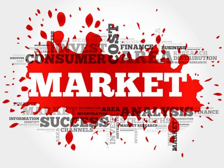 keyword research: Market word cloud, business concept Illustration