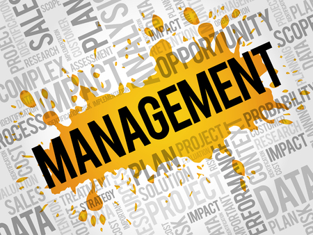 Management word cloud collage, business concept background Illustration