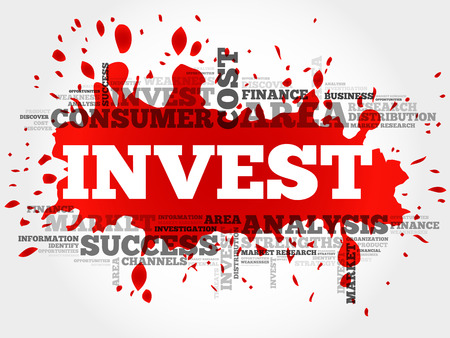 Invest word cloud, business concept Illustration