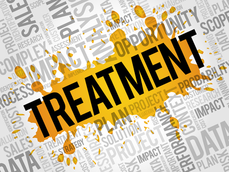 Treatment word cloud, business concept