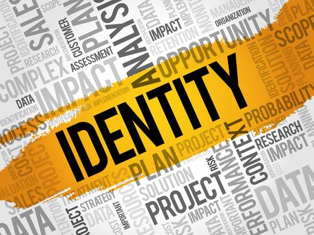 IDENTITY word cloud, business concept Illustration