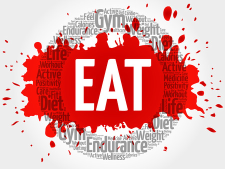 EAT circle stamp word cloud, fitness, sport, health concept