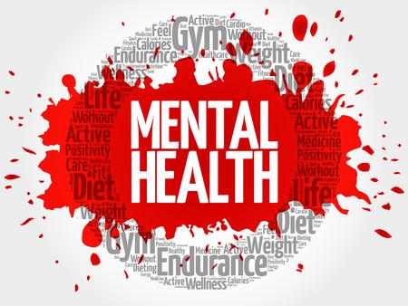 Mental health circle stamp word cloud, health concept