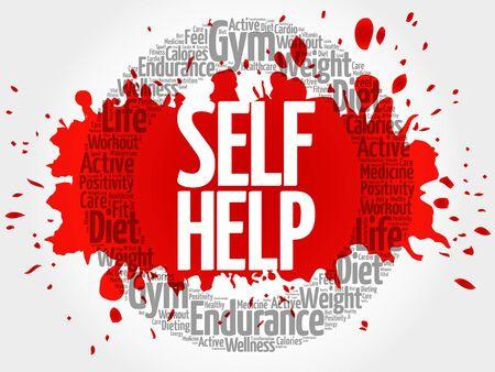 Self Help circle stamp word cloud, health concept