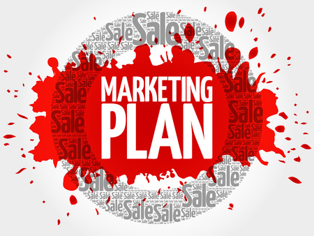 Marketing Plan stamp vector words cloud, business concept background