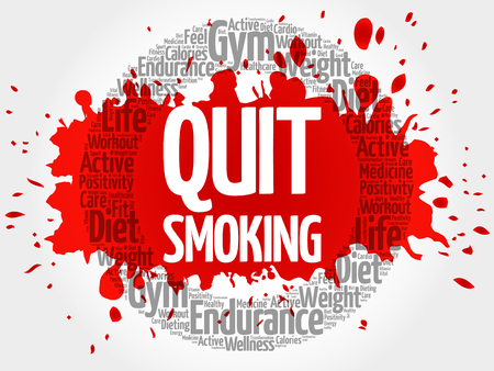 quit: Quit Smoking circle stamp word cloud, health concept