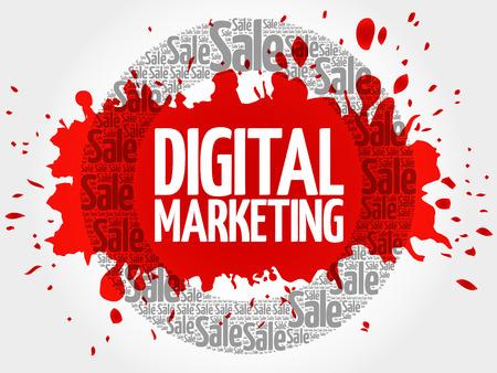 Digital Marketing stamp words cloud, business concept background