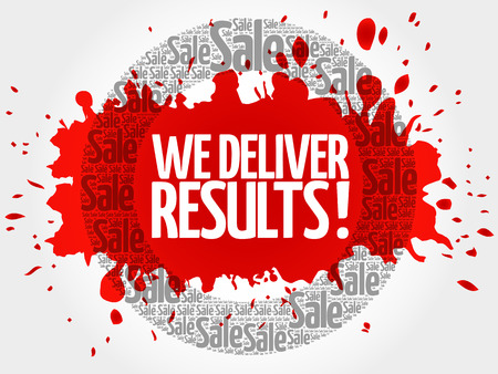 We deliver results ! words cloud, business concept background