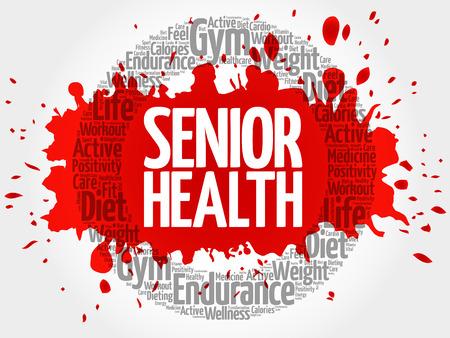 mature adult: Senior health circle word cloud, fitness, sport, health concept