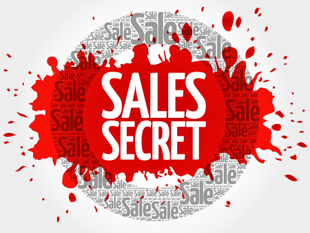 Sales Secret stamp words cloud, business concept background