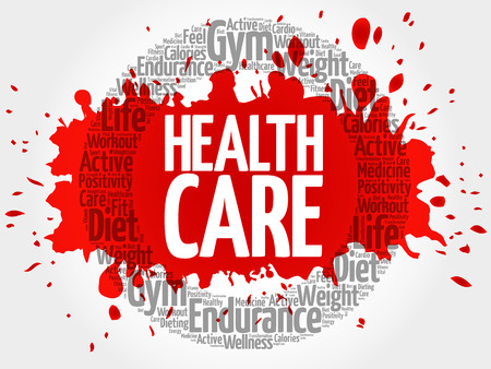 costs: Health care circle word cloud, fitness, sport, health concept