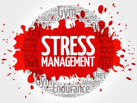 transactional: Stress Management circle stamp word cloud, health concept Illustration