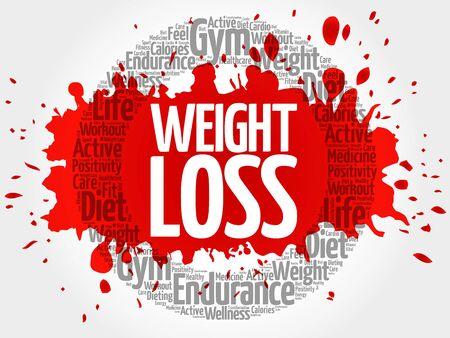 Nuage de mot cercle de perte de poids, fitness, sport, concept de santé Vecteurs