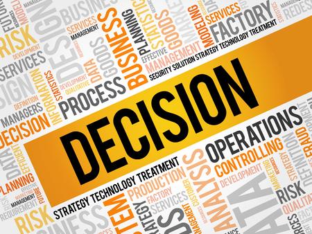 DECISION word cloud, business concept