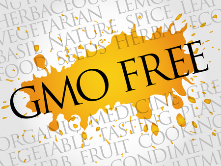 GMO FREE word cloud collage, food concept background Illustration