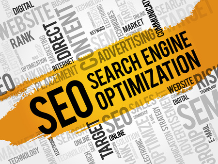 keyword: SEO (search engine optimization) word cloud collage, technology business concept background