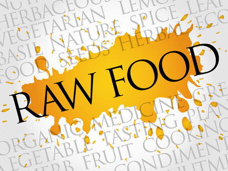 RAW FOOD word cloud collage, food concept background