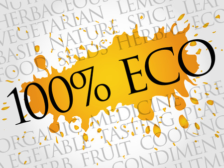 100% ECO word cloud collage, food concept background