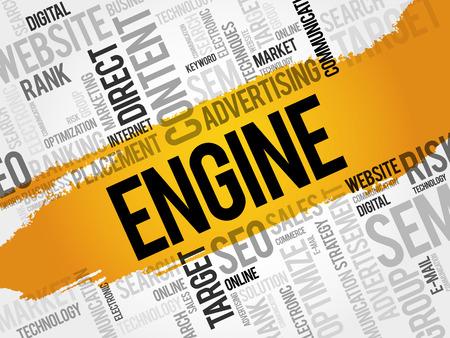 meta: ENGINE word cloud, business concept Illustration