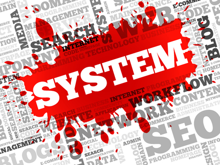 SYSTEM word cloud, business concept Illustration