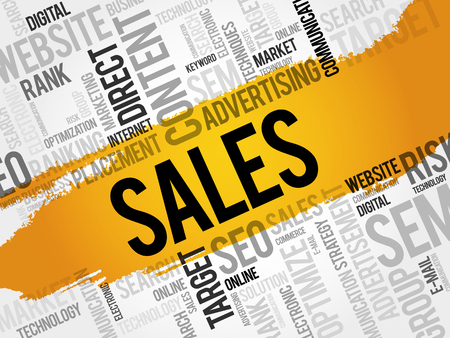 tactics: Sales word cloud, business concept Illustration