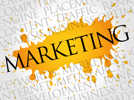 keyword research: MARKETING word cloud, business concept Illustration