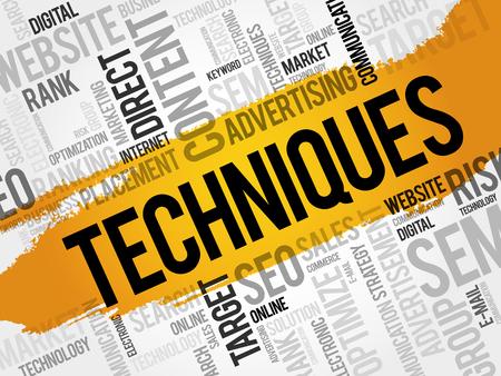Techniques word cloud collage, business concept background