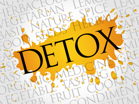 DETOX word cloud collage, food concept background