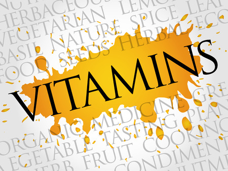 VITAMINS word cloud collage, food concept background Illustration